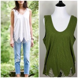 Anthropologie Pepin Cut out Distressed Tank Green